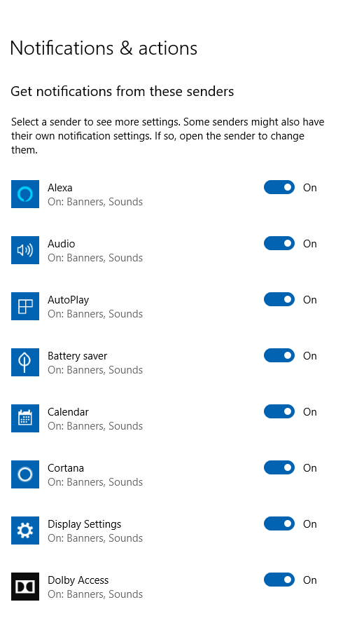 turn off Windows 10 notifications