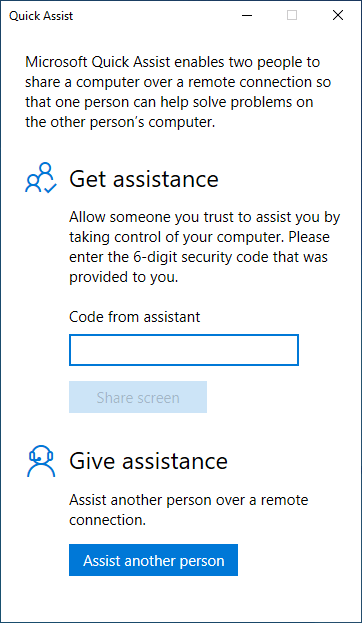 Choose to Get Assistance or Give Assistance in Quick Assist