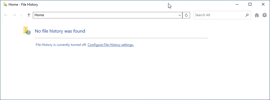 Windows File History is turned off by default