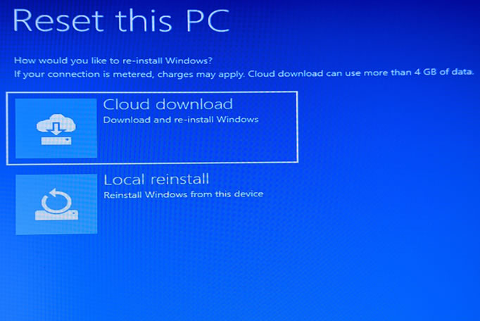 Cloud Download in Windows 10 Recovery Environment