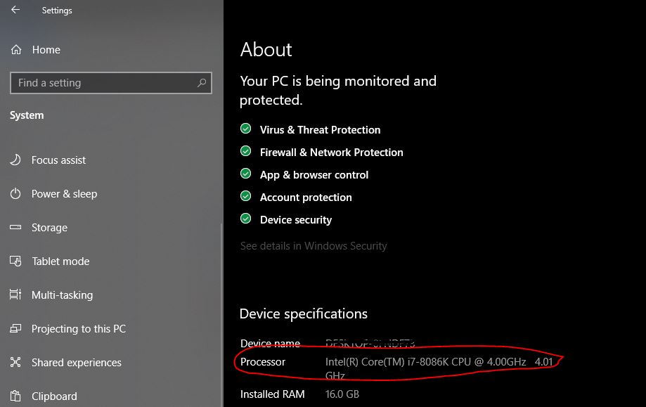 About Menu Windows device specifications