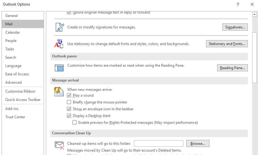 Stop Outlook making a sound