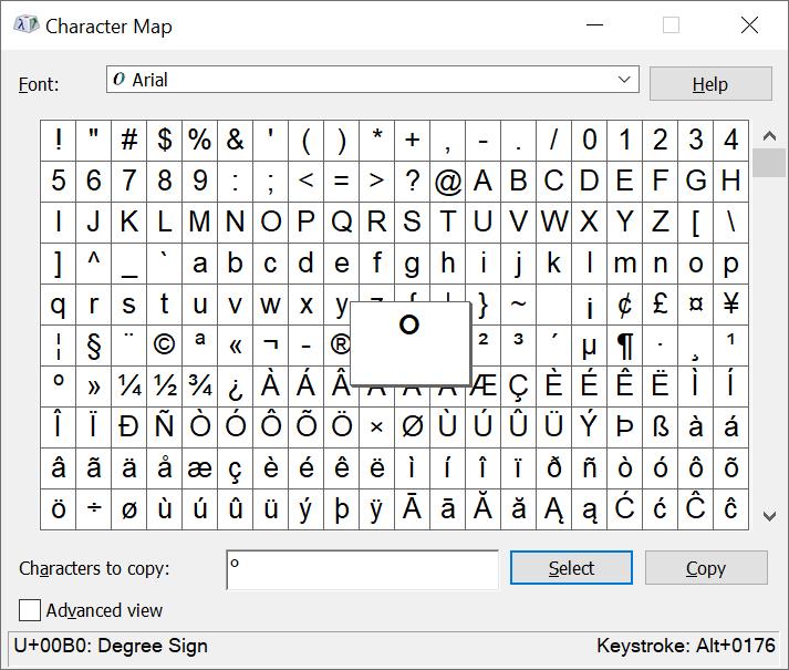 Degree symbol Windows
