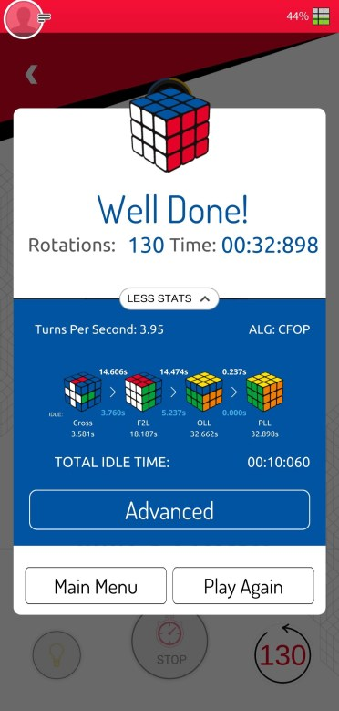 Screenshot from the Rubik's Connected app showing the congratulations screen after solving the cube.