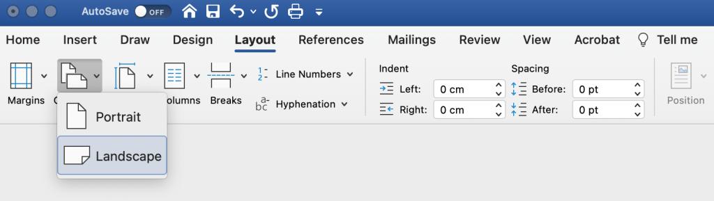 Microsoft Word page orientation settings