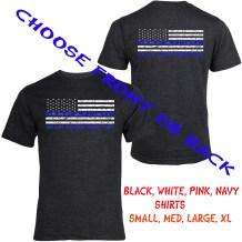 basic black front and back t-shirt blue lives matter