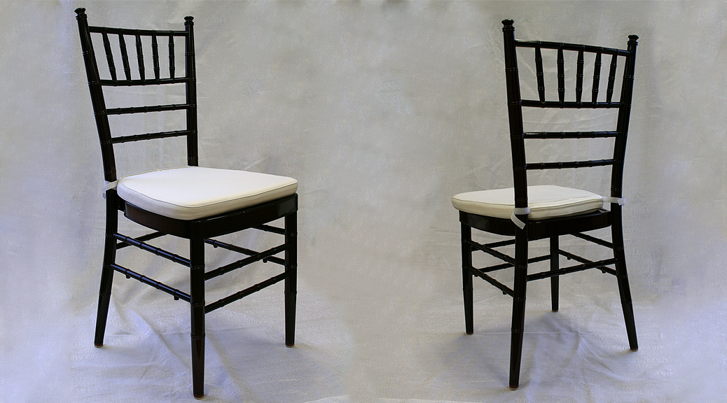 Mahogany Chiavari wedding chair rental Iowa City CR QC IA