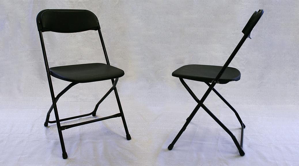 Standard black folding chair rental Iowa City Cedar
