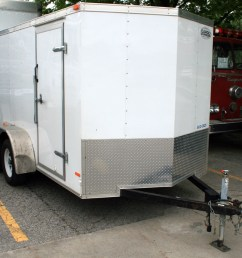 left front view of our 6 x 12 enclosed cargo box utility trailer  [ 1020 x 935 Pixel ]
