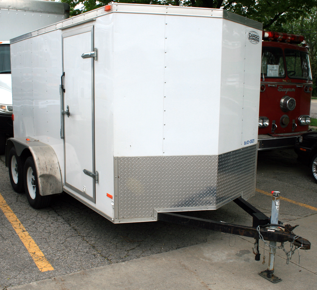 hight resolution of left front view of our 6 x 12 enclosed cargo box utility trailer