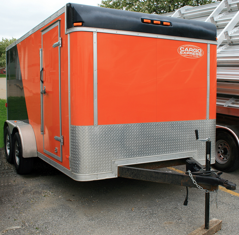 hight resolution of front of our 7 x14 orange and black utility motorcycle trailer