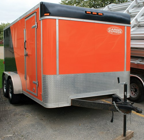 small resolution of front of our 7 x14 orange and black utility motorcycle trailer