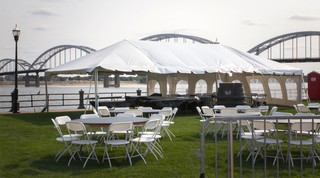 chair cover rentals quad cities salon pedicure chairs event setup for 2015 river roots music rib fest and