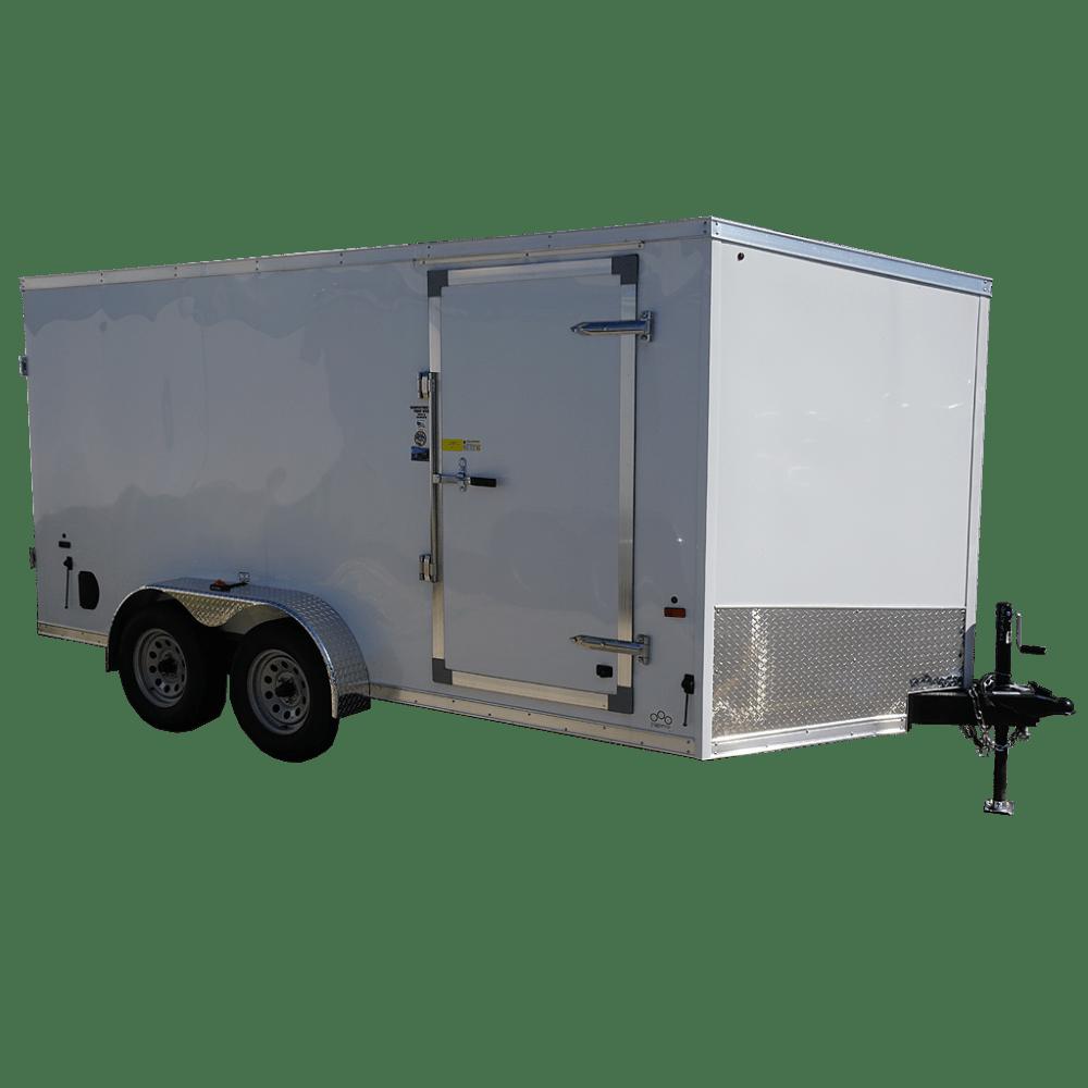 medium resolution of 7 x14 white tandem enclosed trailer for rent or sale 2432 quare