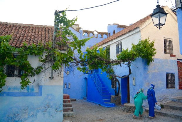 People walking in Chefchaouen