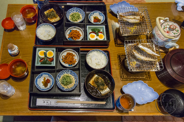 An overhead look at a gourmet breakfast at a ryokan in Kyoto, Japan