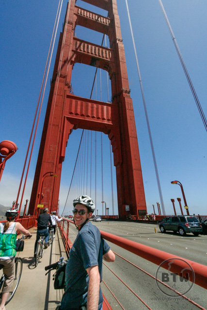 Aaron looking back on the bike while crossing the Golden Gate Bridge | BIG tiny World Travel