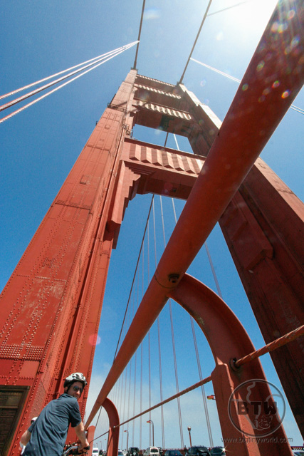 Looking up at one of the Golden Gate Bridge towers from atop the bridge | BIG tiny World Travel