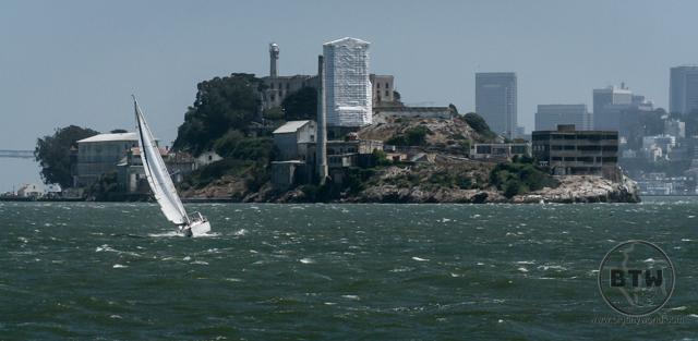 A sailboat on the San Francisco Bay in front of Alcatraz Island | BIG tiny World Travel