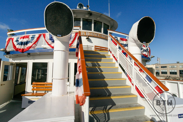 The front stairs of the Hornblower ship in San Francisco | BIG tiny World Travel