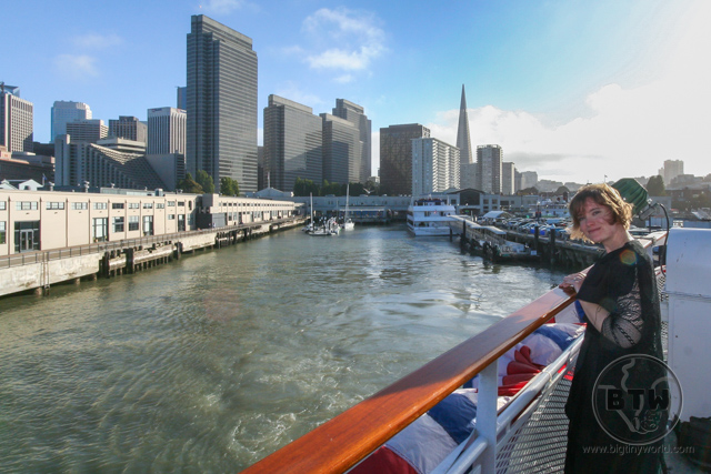 Brianna looking back at San Francisco from the Hornblower on the Bay | BIG tiny World Travel
