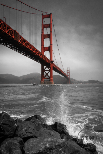 A wave crashing in front of the Golden Gate Bridge in San Francisco | BIG tiny World Travel