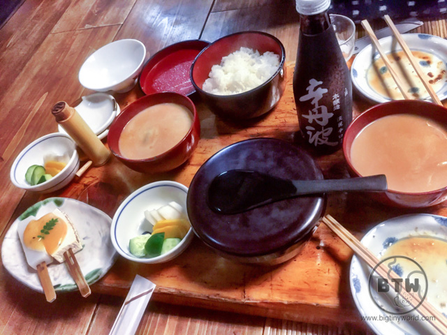 The meal spread at the Komakata Dozeu restaurant in Asakusa, Tokyo, Japan, including dengaku and dozeujiro | BIG tiny World Travel