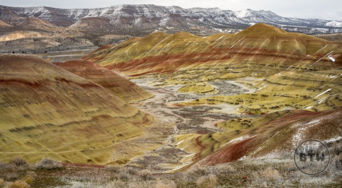 The banded landscape of the Painted Hills in Central Oregon