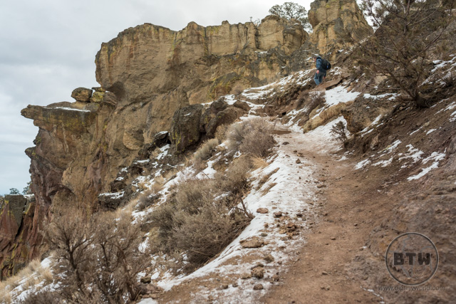 The icy patch on the Misery Ridge trail at Smith Rock