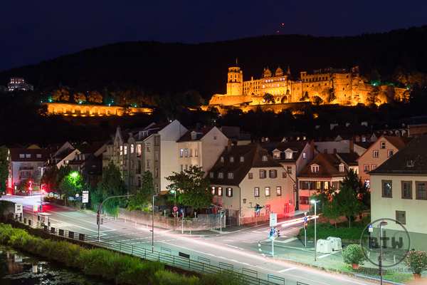 Heidelberg Castle Night from Old Bridge