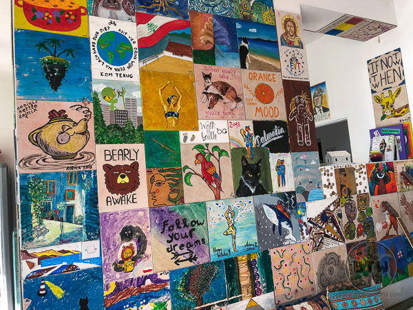 Paintings created by residents of the hostel in Omis, Croatia