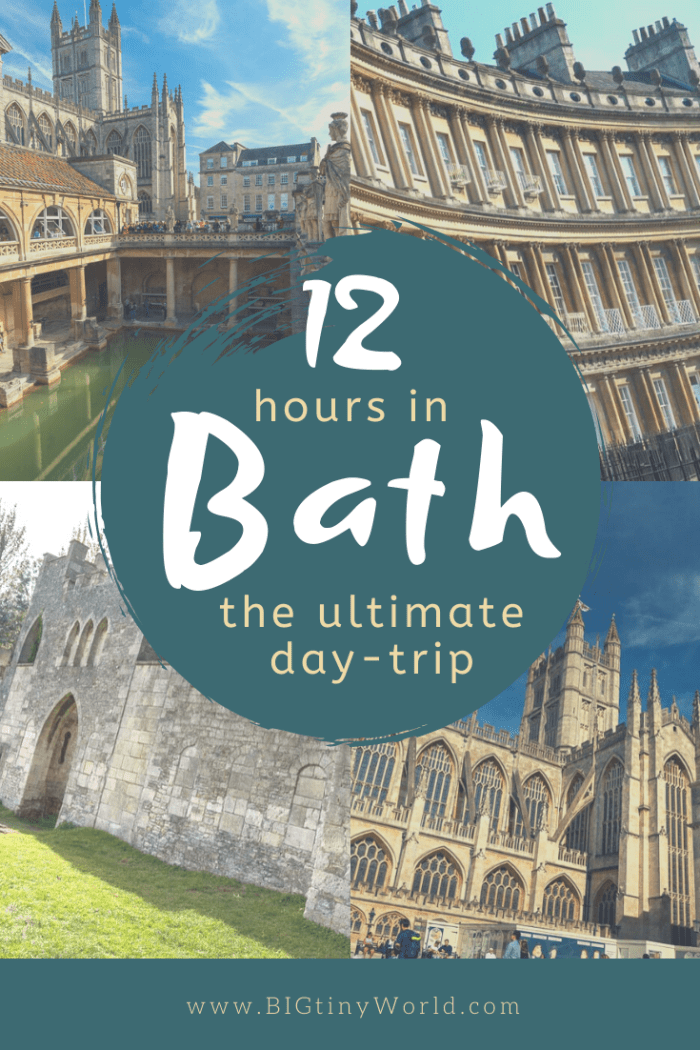 12 Hours in Bath - The Ultimate Day-Trip | Bath UK is the perfect destination for a day-trip. We covered much of the activities in the city in one day and want to share our experience with you. Check out our ultimate day-trip and video highlighting some of our activities. | BIG tiny World Travel | #bigtinyworld #BathUK #shadeadventures #Romanbath