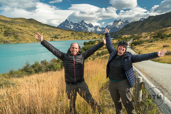Us posing in front of a beautiful mountain view in Torres Del Paine National Park