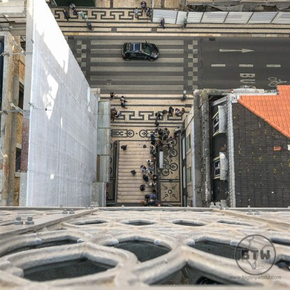 Looking down from the Elevador de Santa Justa in Lisbon, Portugal