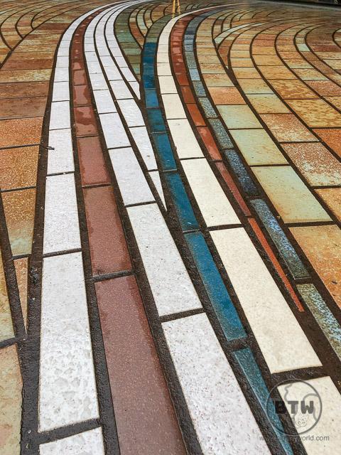 Colored brick patio in Bologna, Italy