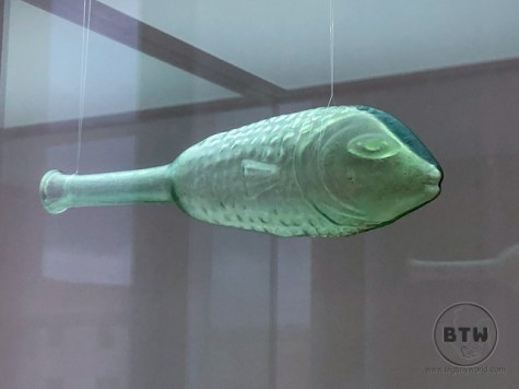 A small glass bottle in the shape of a fish at the Museum of Ancient Glass in Zadar, Croatia