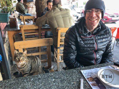 Aaron sitting next to a tabby cat at an outdoor table in Istanbul, Turkey