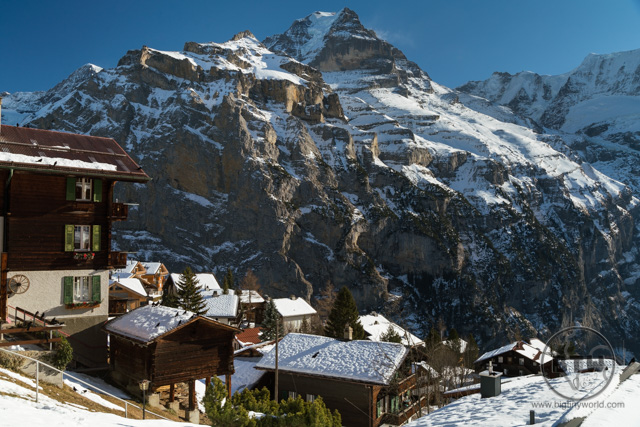 A snow-covered mountain town in Lauterbrunnen, Switzerland