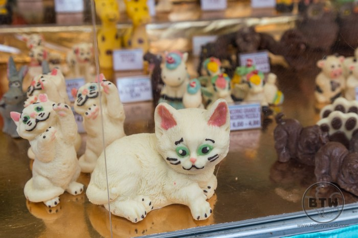 Chocolate animals at a fair in Modena, Italy