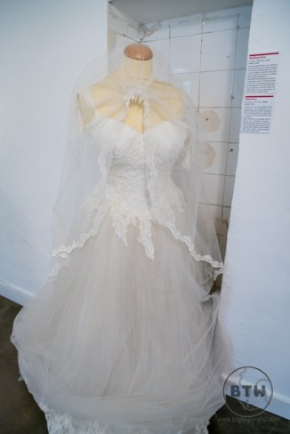 A wedding dress at the Museum of Broken Relationships in Zagreb, Croatia