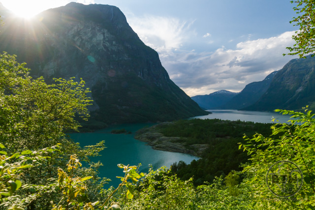 A fjord in Norway in the evening