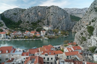 Looking down at Omis, Croatia, from atop an old fortress