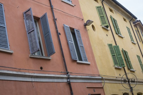 Colored buildings in Reggio Emilia, Italy