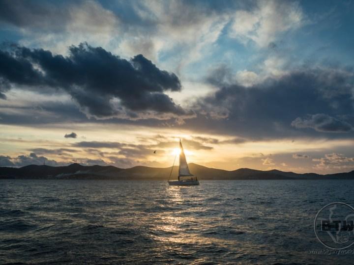 A sailboat at sunset in Zadar, Croatia