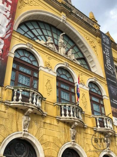 A bright yellow building facade in Split, Croatia