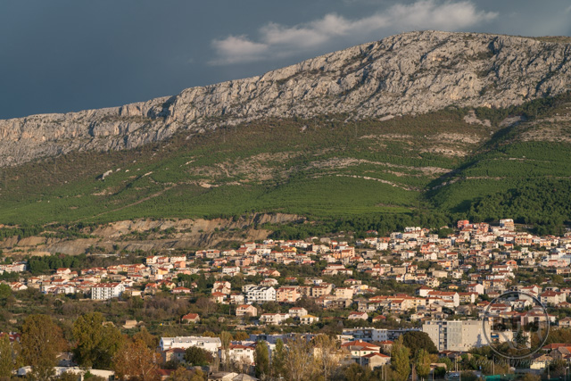 The rocky hillside overlooking Split, Croatia, at dawn