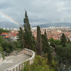 A rainbow over the city of Split, Croatia, from atop the western hill