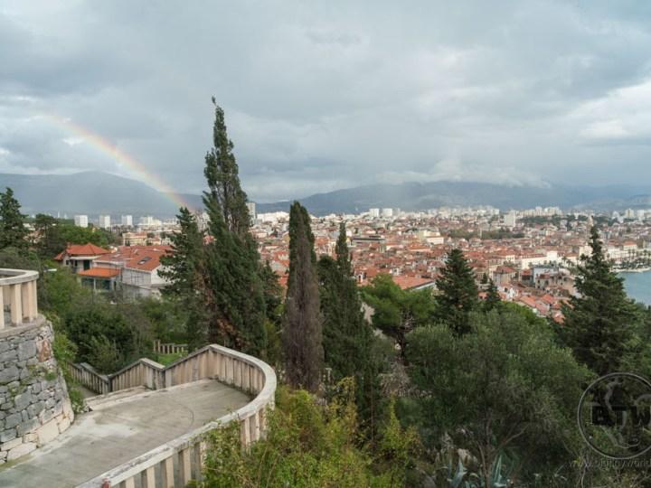 A rainbow over the city of Split, Croatia