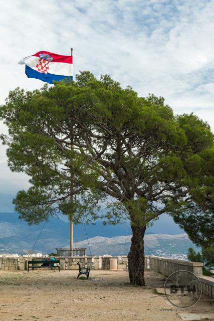 The Croatian flag atop the western hill in Split, Croatia