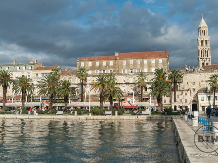 A view of the waterfront of Split, Croatia, from a pier